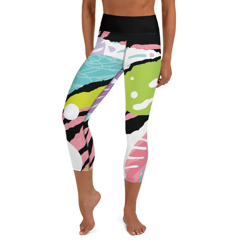 Pop art in Pink Yoga Capri Leggings