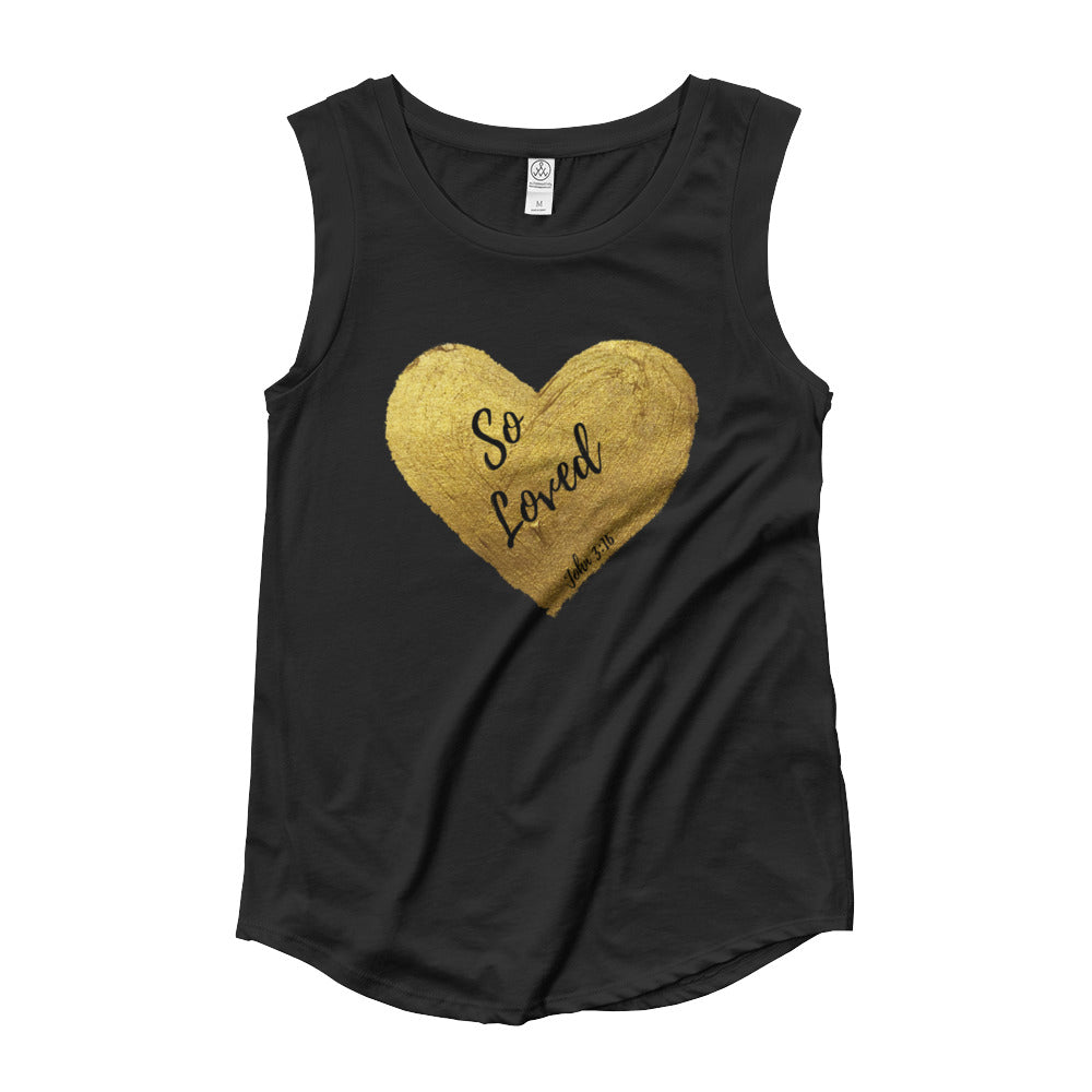 So Loved in Gold Ladies' Cap Sleeve T-Shirt