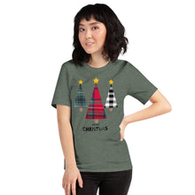 Merry Christmas Plaid Trees Short-Sleeve Unisex T-Shirt