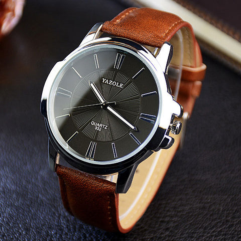 Yazole MW326-327 2017 - Leather Band Quartz Watch Men - brown and white