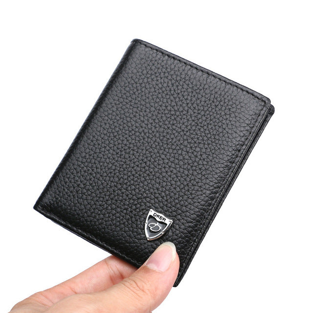 Vertical Slim  Leather Wallet