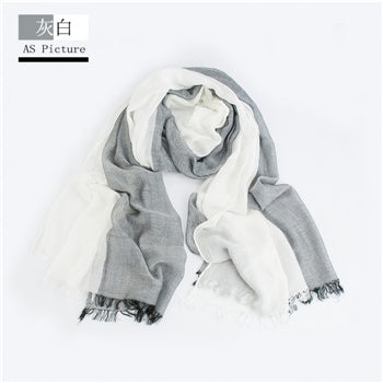 Winter Scarf Men Warm Soft Tassel Bufandas Cachecol Gray Plaid Woven Wrinkled Cotton Men Scarves