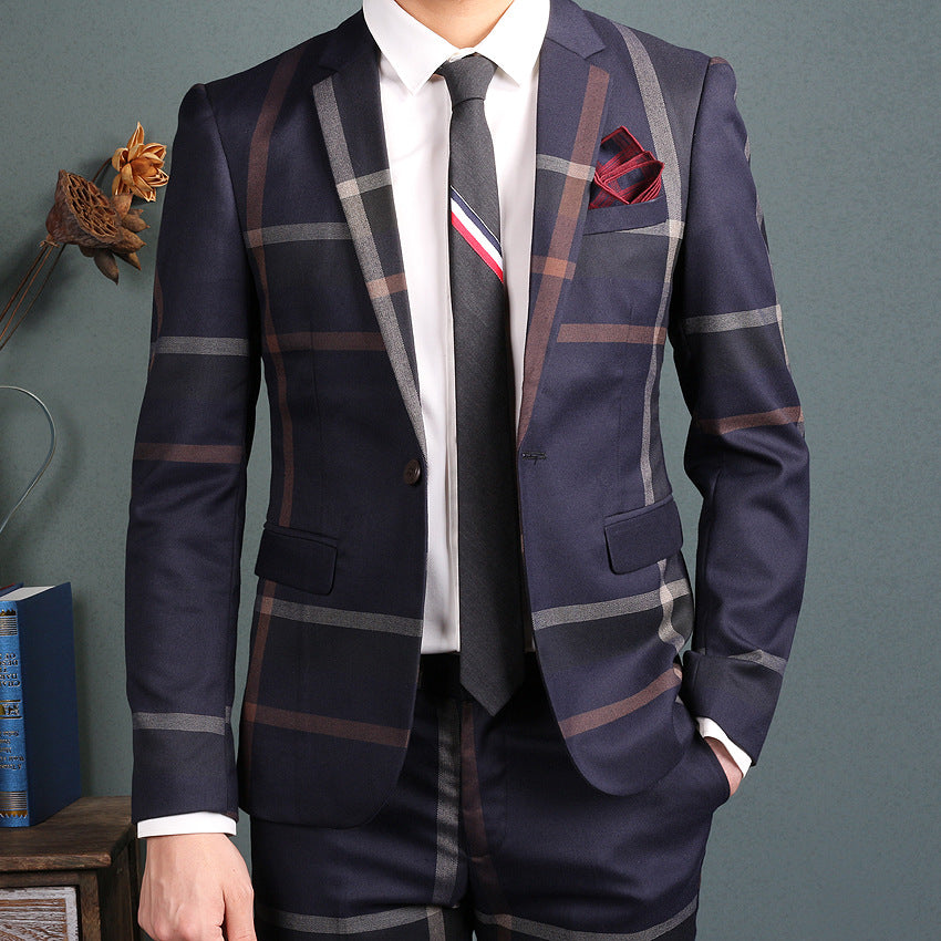 Navy Blue Slim Fit Plaid Suit