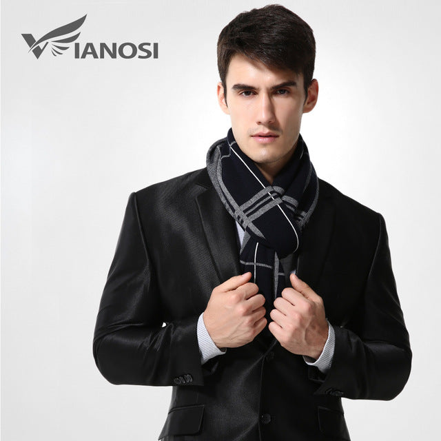 VIANOSI -  Wool Plaid Winter Scarf Man  - MA009