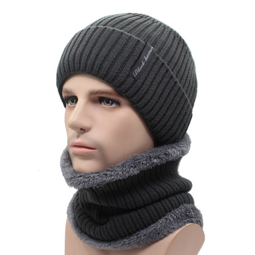 Winter Beanies Men Scarf Knitted Hat