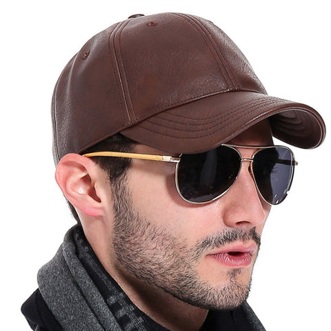 Winter Leather Baseball Cap