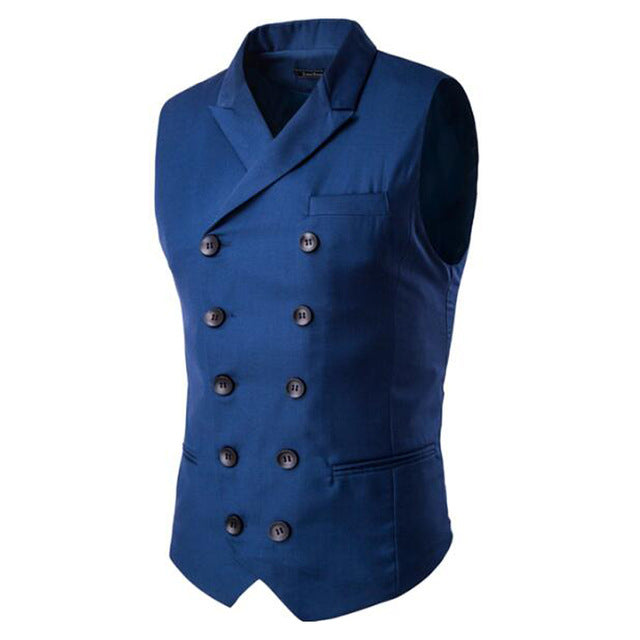 Slim Masculino Cotton Double Breasted Vest