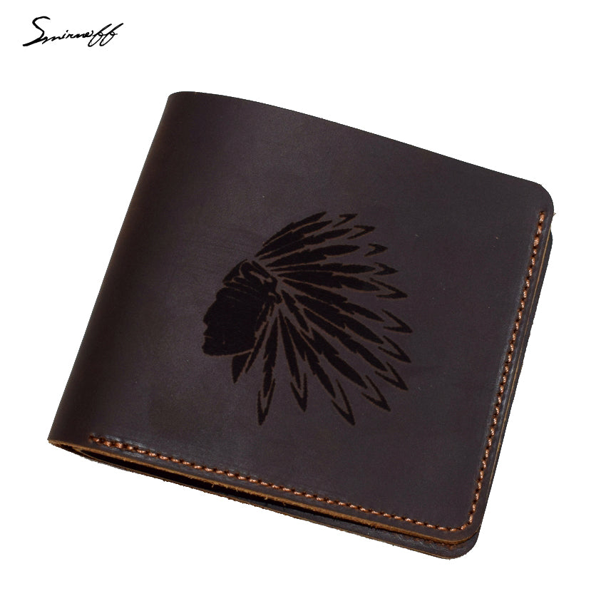 Men Genuine Leather Wallet Card Purse Handmade Laser Engraving Indian Elder Portrait Dollar Wallet Male Slim Purse