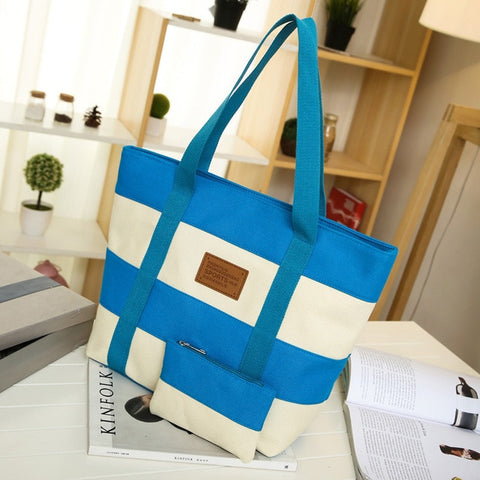 2018 Women Beach Canvas Bag Fashion Color Stripes Printing Handbags Ladies Large Shoulder Bag Totes Casual Bolsa Shopping Bags