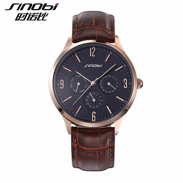 Sinobi S9546 - Leather Band Quartz Wristwatches - brown and gold
