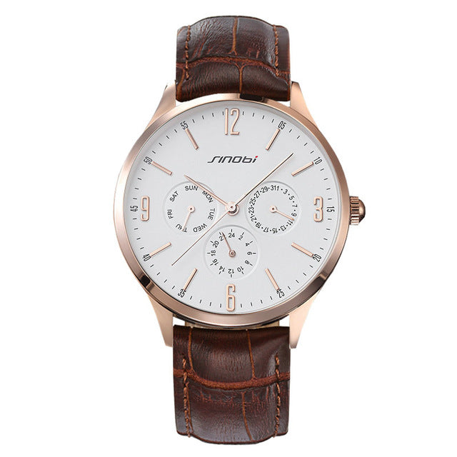 Sinobi S9546 - Leather Band Quartz Wristwatches - brown, gold and white