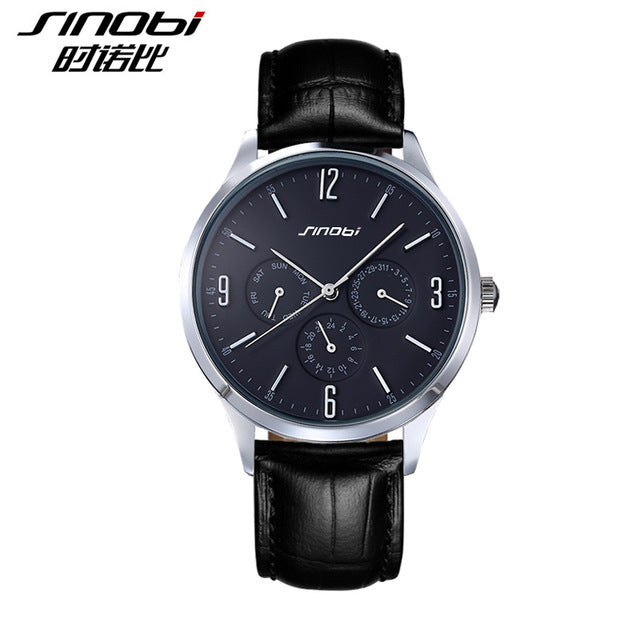 Sinobi S9546 - Leather Band Quartz Wristwatches - black and silver