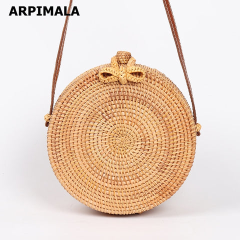 ARPIMALA 2018 Round Straw Bags Women Summer Rattan Bag Handmade Woven Beach Cross Body Bag Circle Bohemia Handbag Bali