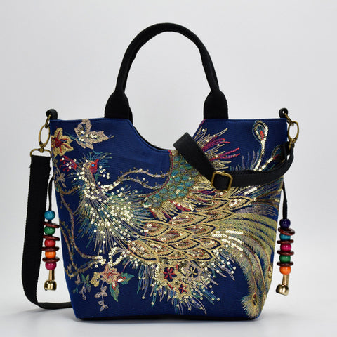 2018 New Canvas Women Handbag National Phoenix Embroidered Shoulder Totes Messenger Bag Leisure Crossbody Beach Travel Bag