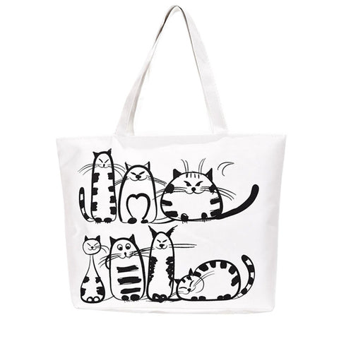 Women Canvas casual Handbag cartoon Cat Printed Shoulder bag Female Large Capacity Women Canvas Tote Shopping Handbags