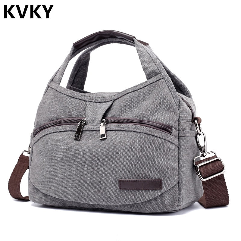 Vintage Canvas Bag Women Handbags Multi-pocket Hobos Shoulder Bag Female Casual Tote Bag Ladies Crossbody Bag Bolsas Feminina