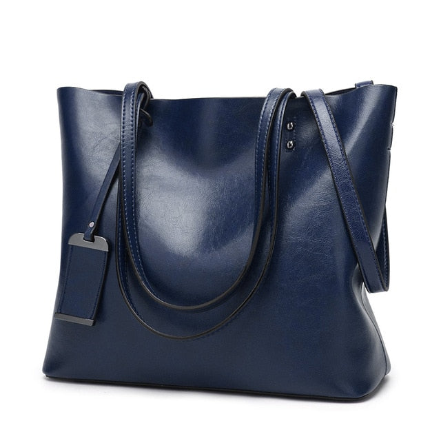 LA MAXZA Women Bag Oil Wax Leather Handbags Luxury Lady Bags With Purse Pocket Women Messenger Bag Big Tote Sac Bolsos Mujer