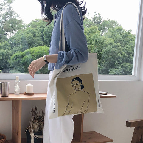 Women Canvas Shoulder Bag Henri Matisse Painting Printing Ladies Shopping Bag Feminina Simple Eco Pure Cotton Cloth Handbag Tote
