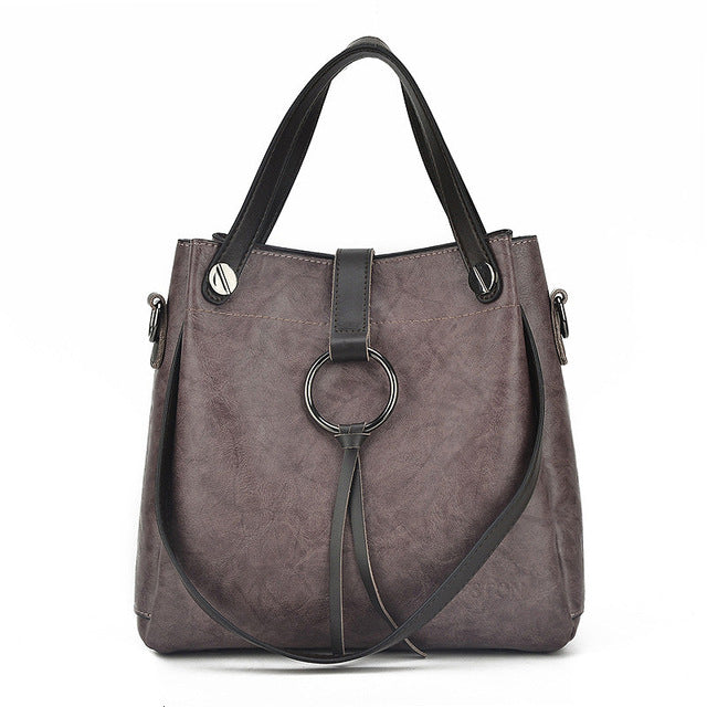 Znakomity Handbags women's genuine leather Shoulder bag women bag vintage big Large Black brown tote cross hand bags for women