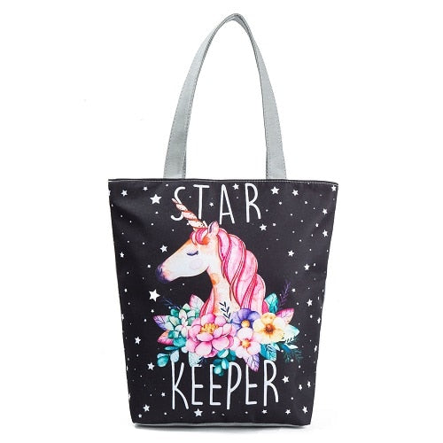 Miyahouse Casual Canvas Tote Handbag Women Unicorn Printed Shoulder Bag Female Summer Beach Bag Shoulder Bag Lady
