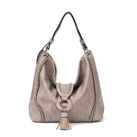 MONFERE Big Vegan Leather Women Shoulder Bag Fashion Large Hobo Tote Bag for Girls Tassel Flap Ladies Handbag& Purse Trend 2018