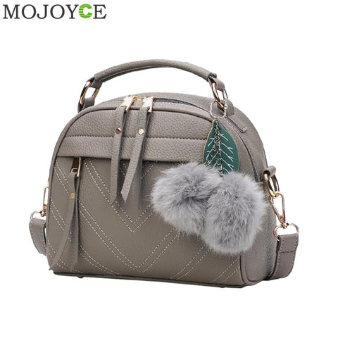 2018 Fashion Women Handbag PU Leather Women Messenger Bags With Ball Toy Bolsa Female Shoulder Bags Ladies Party Handbags New