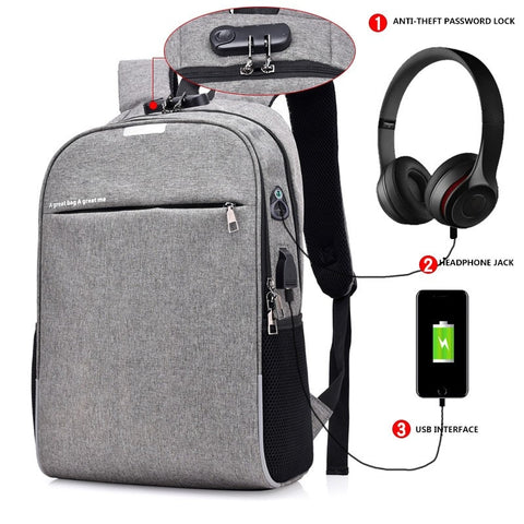 2019 USB Charging Business Backpack Password Lock Anti-theft Backpack Men Women School Bag With Earphone Hole Travel Bagpack