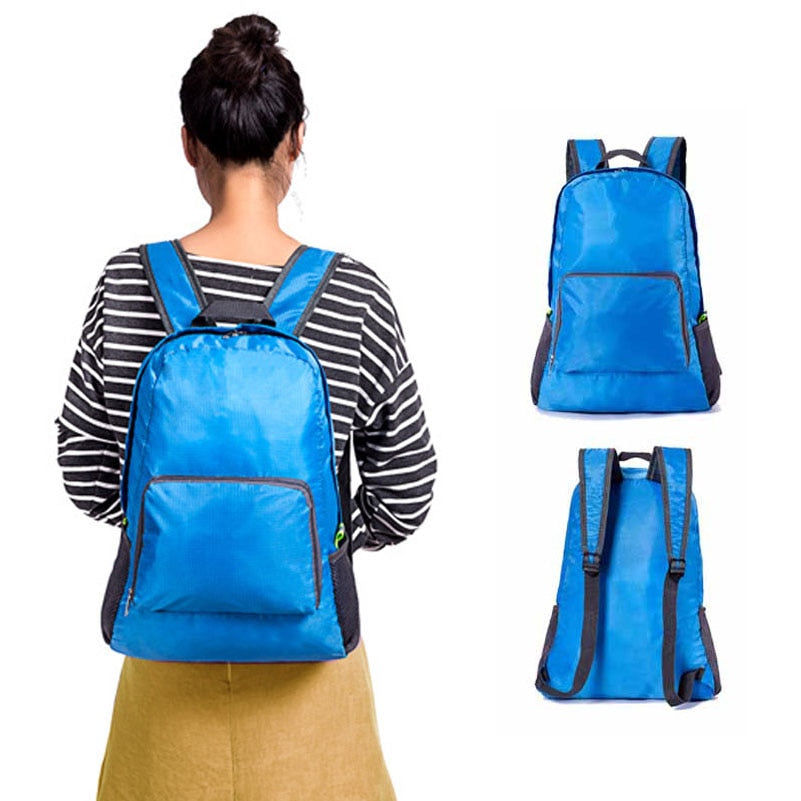 Travel Backpack Women Men Casual Portable Nylon Back Packing  Daily Traveling Shoulder Bags Folding Bag Zipper Light Weight