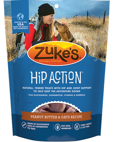 Zukes Hip Action Peanut Butter and Oats Dog Treats with Glucosamine and  Chondroitin