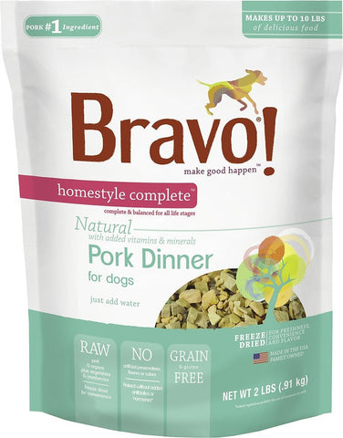 Bravo! Freeze Dried Homestyle Complete Pork Dinner For Dogs Food