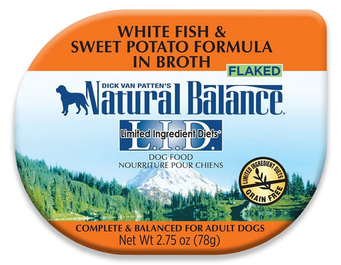 Natural Balance L.I.D. Limited Ingredient Diet Grain Free Flaked White Fish and Sweet Potato Formula in Broth Dog Food Cups