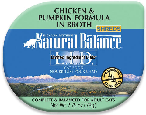 Natural Balance L.I.D. Limited Ingredient Diet Grain Free Chicken and Pumpkin Formula in Broth Adult Cat Food Cups