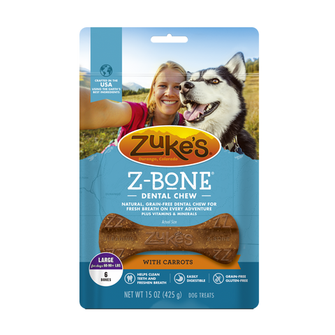 Zukes Z-Bones Grain Free Clean Carrot Crisp Dental Dog Treats