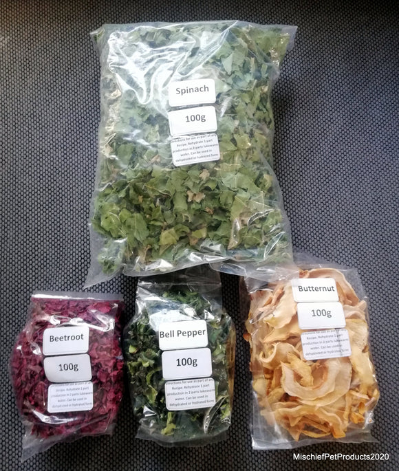 Dried Vegetables / Fruit / Nuts 100g - Mischief Pet Products