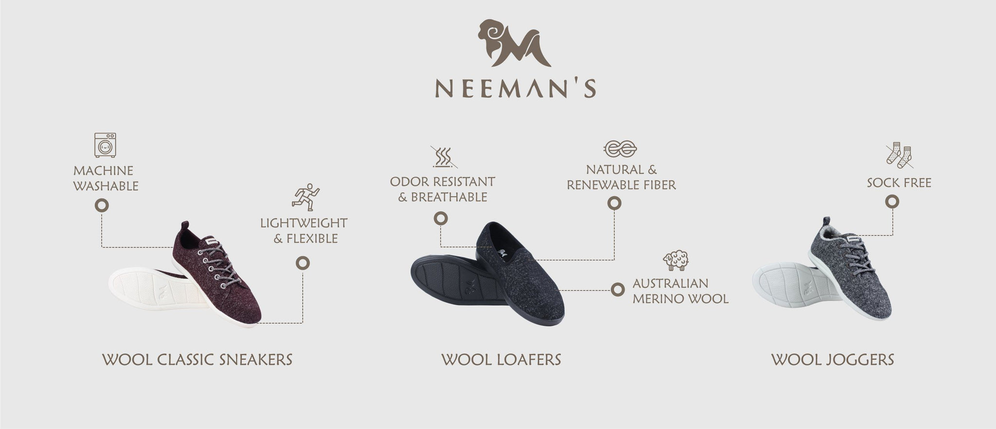 Features of Neeman's Merino Wool Shoes