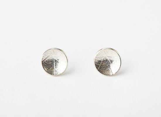 Dome Stud Leaf Imprint Earrings