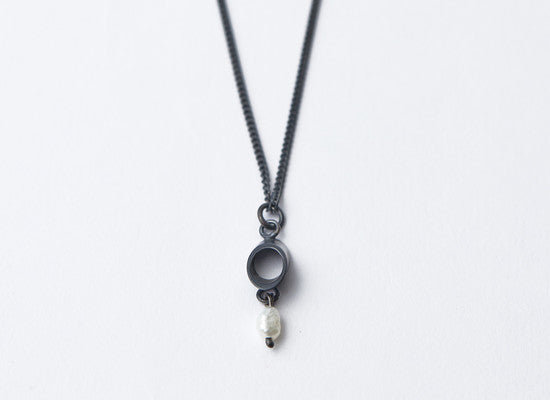 Silver Ellipse & Pearl Oxidised Necklace