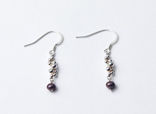 Silver & Blue Pearl Seed Dropper Earrings