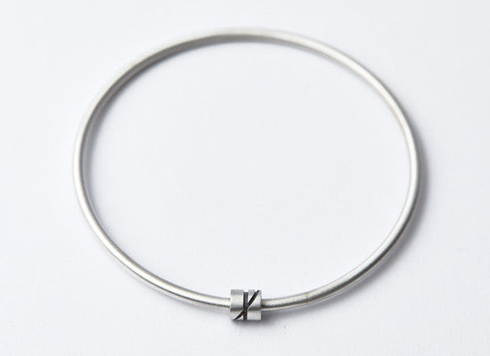 Silver & Black Lines Bead Bangle
