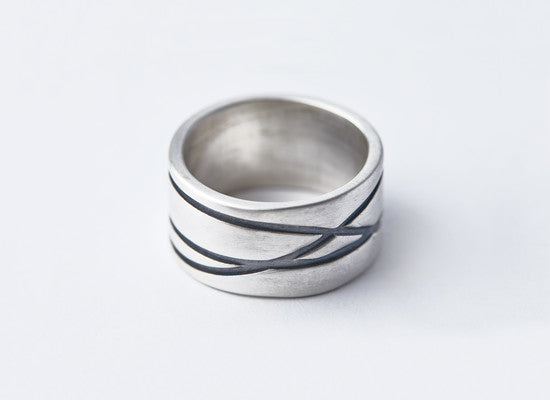 Wide Silver Black Lines Ring