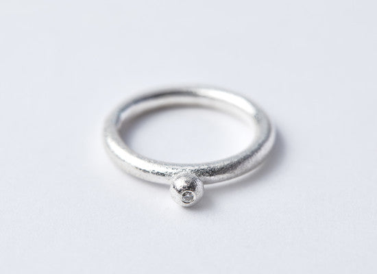 Silver & Diamond Seed Ring