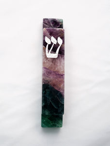 Tri-Color Mezuzah Case-Silver-Carved Fluorite Stone