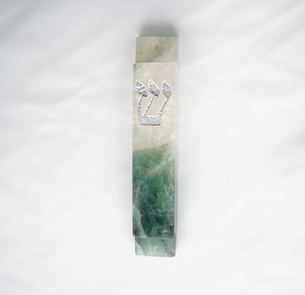 Green and White Mezuzah Case-Silver-Carved Fluorite Stone