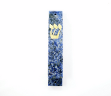 Blue and White Mezuzah Case-Gold- Sodalite
