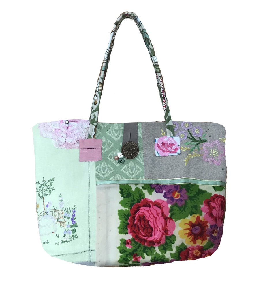 Unique Bag made from Hand Embroidered Linens and Vintage Fabrics.