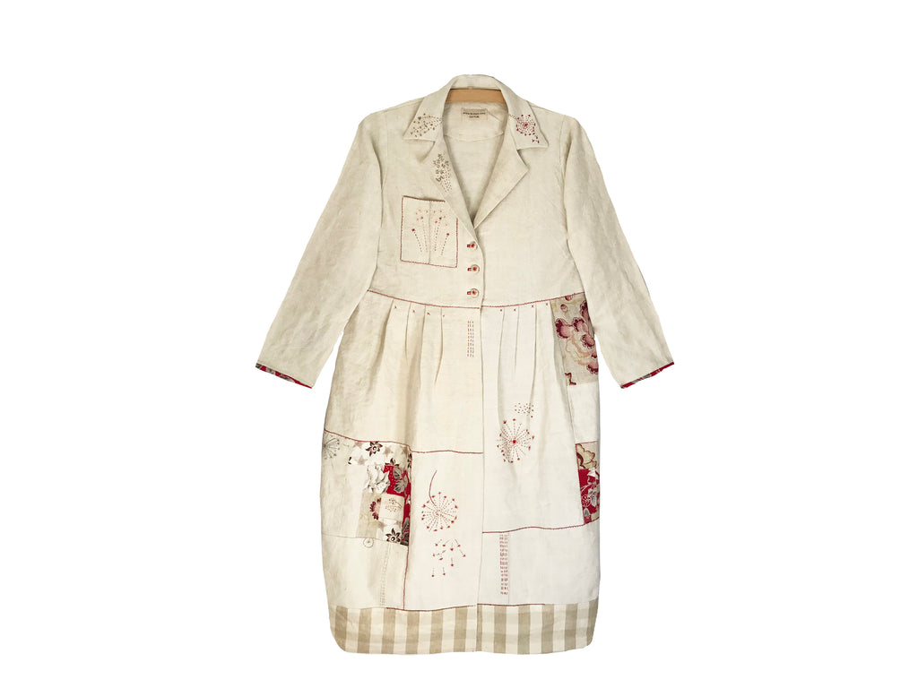 Linen Coat Made from Vintage Fabrics with Embroidery and Embellishing