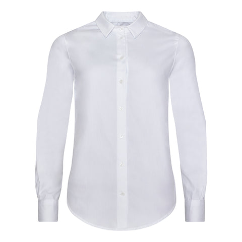Classic White Cotton Pinpoint Shirt Front View