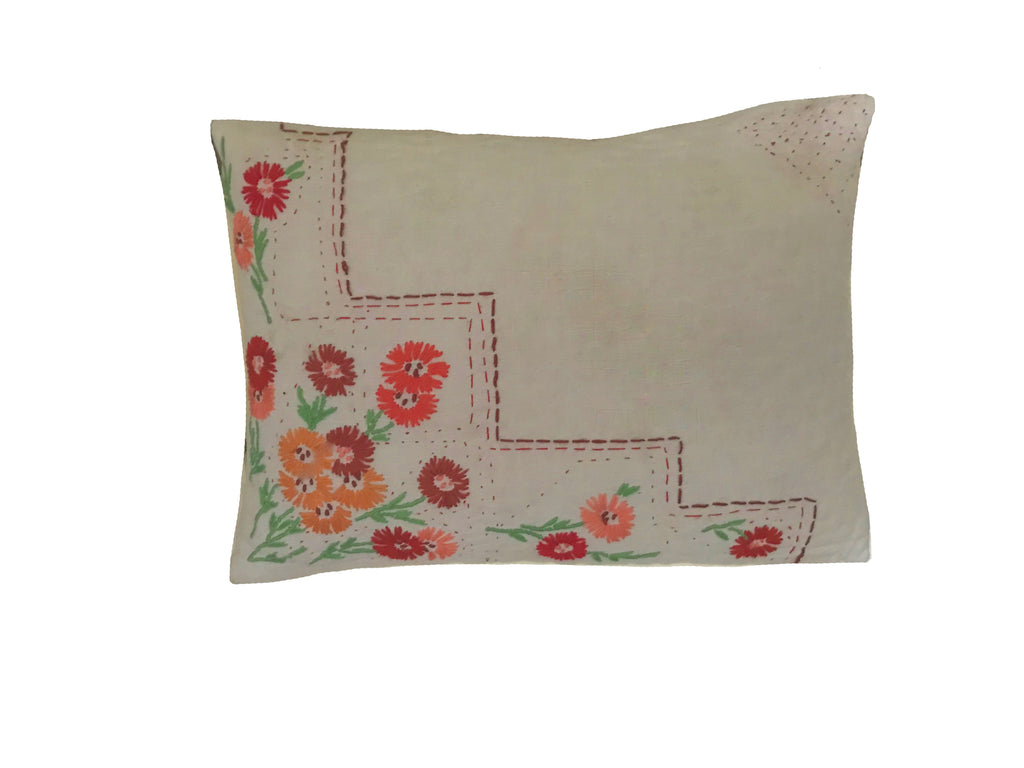 Quilted Cushion made from a Vintage Embroidered Linen Cloth