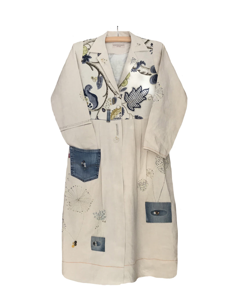 One-Off Coat made from Vintage Linen, Re-Worked Levis Jeans, with Sanderson Linen with hand embroidery.