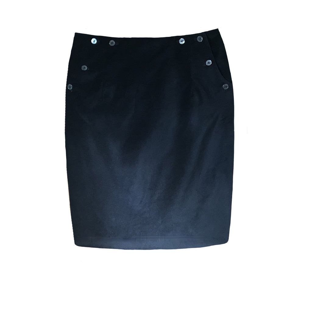 Cotton Velvet Buttoned Skirt